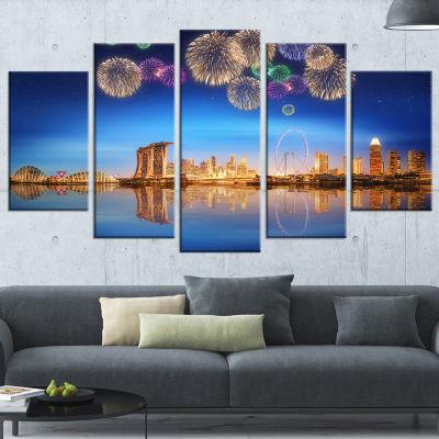 Designart Singapore Skyline Large Cityscape Photography Canvas Art Print - 5 Panels
