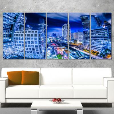 Designart Bangkok City Night View Cityscape Photography Canvas Art Print - 5 Panels