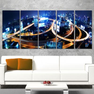 Designart Bangkok Expressway Aerial View CityscapePhoto Canvas Print - 4 Panels