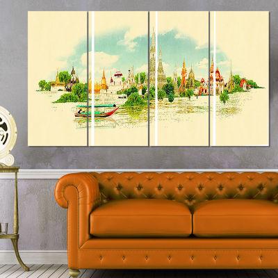 Designart Bangkok Panoramic View Cityscape Watercolor CanvasPrint - 4 Panels