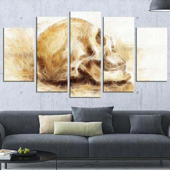 Designart Skull On Paper Fractal Effect Abstract Canvas Artprint 4 Panels