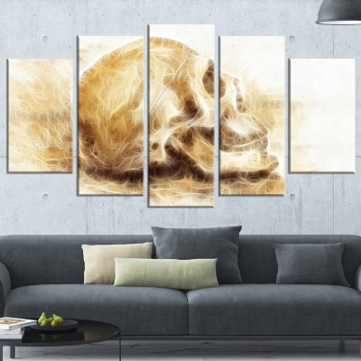 Designart Skull on Paper Fractal Effect Abstract Canvas ArtPrint - 5 Panels
