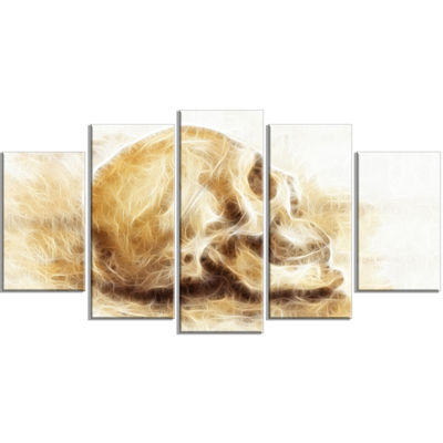 Designart Skull on Paper Fractal Effect Contemporary CanvasArt Print - 5 Panels