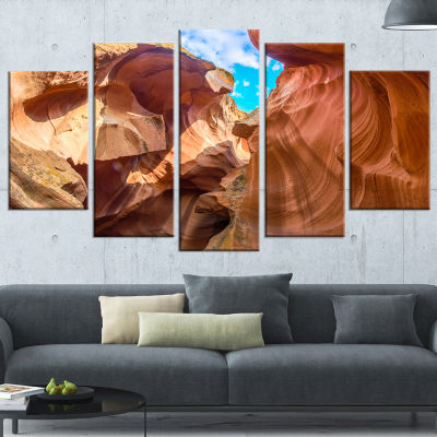 Sky From Antelope Canyon Landscape Photo Canvas Art Print - 4 Panels
