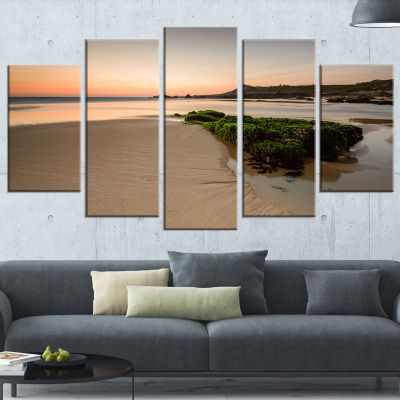 Designart Beach at Sunset in Spain Seashore Photography Canvas Print - 4 Panels