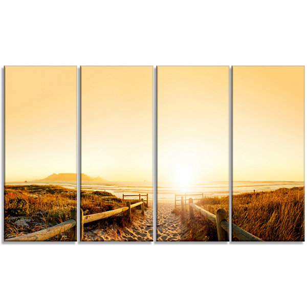 Designart Beach Near Cape Town Panorama Photography Canvas Art Print - 4 Panels