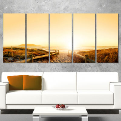 Designart Beach Near Cape Town Panorama Photography Canvas Art Print - 5 Panels