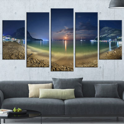 Designart Beach with Lunar Path Seashore Photography Canvas Art Print - 5 Panels