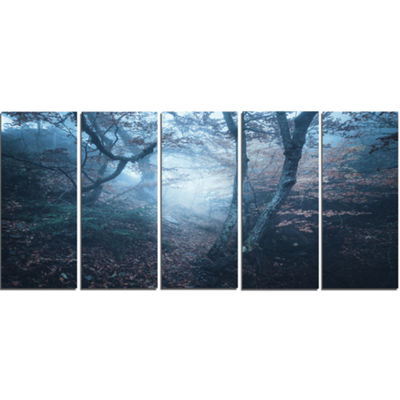 Designart Beautiful Autumn in Forest Landscape Photography Canvas Print - 5 Panels