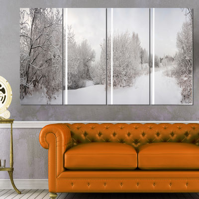 Designart Snow Landscape with Frosted Trees Landscape Art Print Canvas - 4 Panels