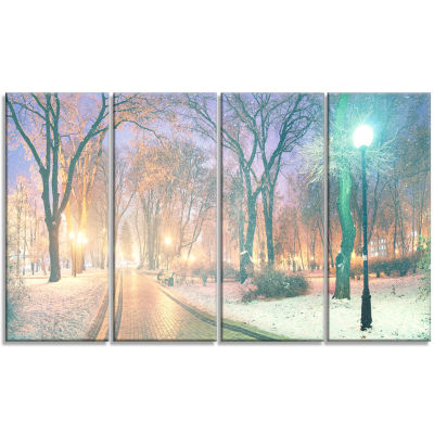 Snowy Path in Mariinsky Garden Landscape Photography Canvas Print - 4 Panels