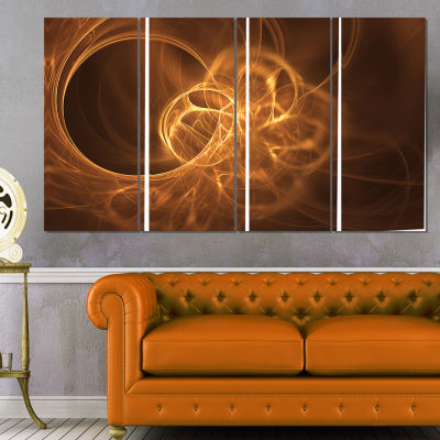 Softly Glowing Circles Golden Abstract Canvas ArtPrint - 4 Panels