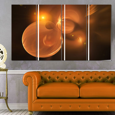 Designart Softly Glowing Circles Yellow Large Abstract Art -4 Panels
