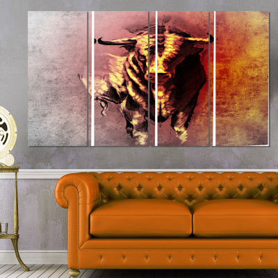 Spanish Bull Tattoo Sketch Abstract Print on Canvas - 4 Panels