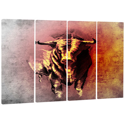 Designart Spanish Bull Tattoo Sketch Abstract Print on Canvas - 4 Panels