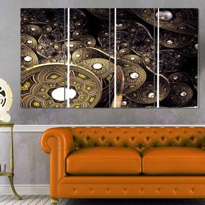 Designart Beautiful Gold Metallic Fabric AbstractPrint On Canvas - 4 Panels