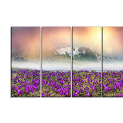 Designart Spring Crocus Flowers Landscape Photo Canvas Art Print - 4 Panels