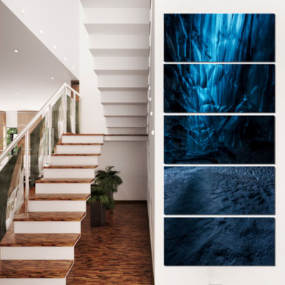 Designart Beautiful Ice Cave in Iceland LandscapePhotography Canvas Print - 4 Panels