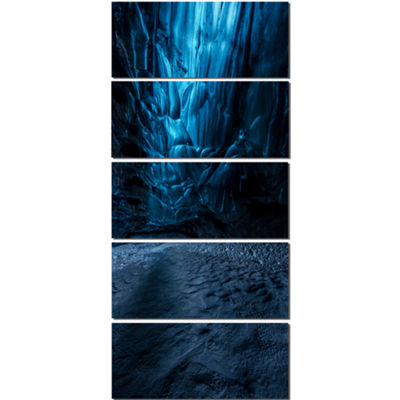 Designart Beautiful Ice Cave in Iceland LandscapePhotography Canvas Print - 5 Panels
