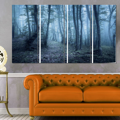 Spring Foggy Forest Trees Landscape Photography Canvas Print - 4 Panels