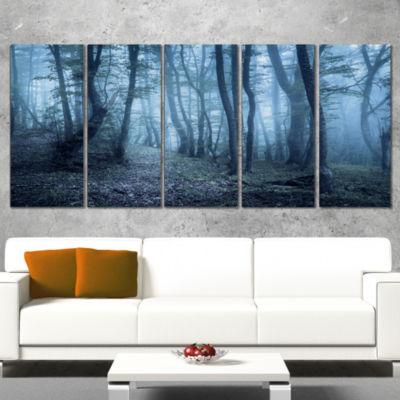 Designart Spring Foggy Forest Trees Landscape Photography Canvas Print - 5 Panels