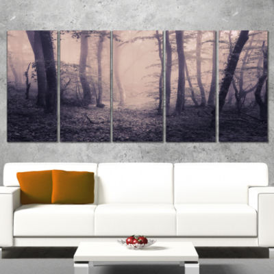 Designart Spring Forest in Fog Landscape Photo Canvas Art Print - 4 Panels