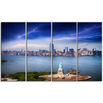 Designart Statue of Liberty and Skyline CityscapePhoto Canvas Print - 4 Panels
