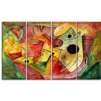 Designart Stimulating Mood Abstract Canvas Art Print - 4 Panels