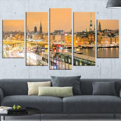 Designart Stockholm Cityscape Panorama Large Cityscape PhotoCanvas Print - 5 Panels