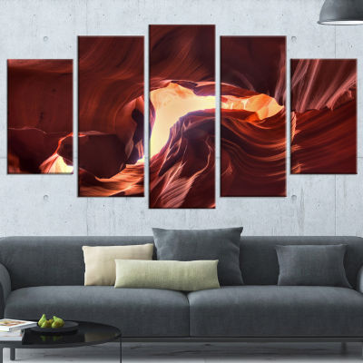 Designart Stone Structures in Lower Antelope Canyon Large Photography Canvas Art Print - 5 Panels