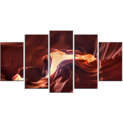 Designart Stone Structures in Lower Antelope Canyon Photography Canvas Art Print - 5 Panels