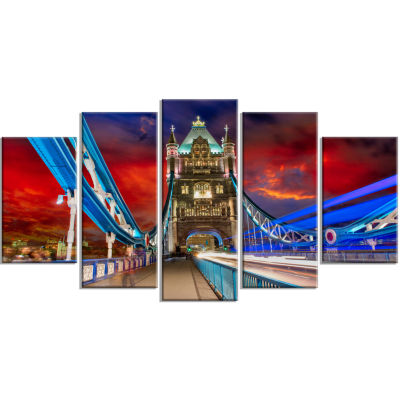 Storm Over Tower Bridge at Night Cityscape Photo Canvas Print - 4 Panels