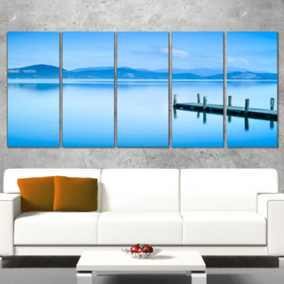 Designart Beautiful Pier in Sea Seascape Canvas Art Print -5 Panels