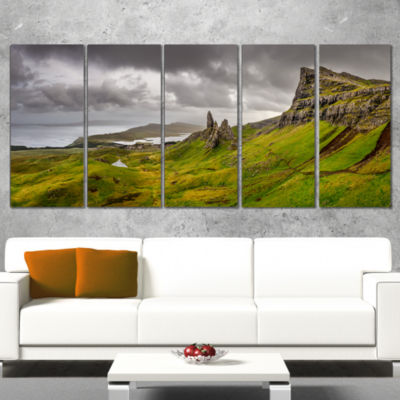 Designart Storr Mountains Panorama Landscape Photography Canvas Print - 4 Panels