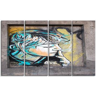 Designart Street Art By C215 Street Art Canvas ArtPrint - 4Panels