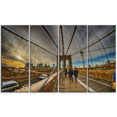 Strolling on Brooklyn Bridge Landscape Photo Canvas Art Print - 4 Panels