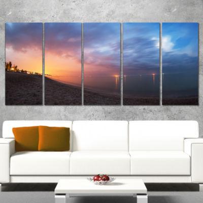 Designart Summer Night with Blue Sky Skyline Photography Canvas Art Print - 4 Panels
