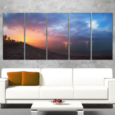 Designart Summer Night with Blue Sky Skyline Photography Canvas Art Print - 5 Panels