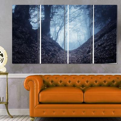 Designart Sunlight Hitting Foggy Forest LandscapePhotography Canvas Print - 4 Panels