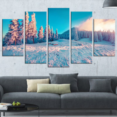 Sunlight Over Winter Mountains Landscape Photography Wrapped Print - 5 Panels
