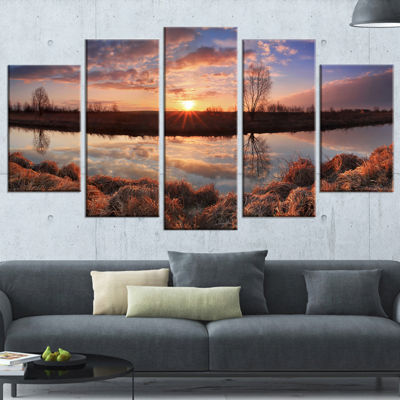 Designart Sunrise Above Spring River Landscape Photo WrappedArt Print - 5 Panels