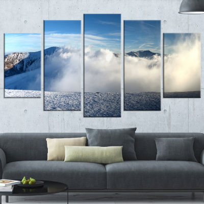 Designart Beautiful Winter Landscape PhotographyCanvas Art Print - 4 Panels