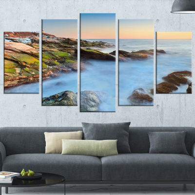Designart Beavertail Lighthouse During Winter Beach Photo Canvas Print - 4 Panels