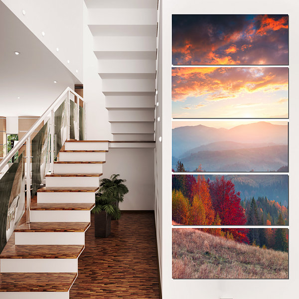 Designart Sunrise in Carpathian Mountains Landscape Photography Canvas Print - 4 Panels