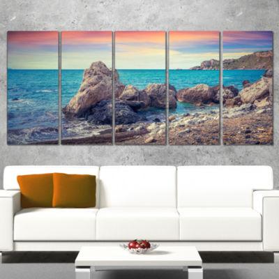 Designart Sunrise in Spring Panorama Seashore Photo Canvas Art Print - 5 Panels