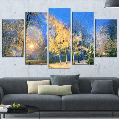 Designart Bent Trees Mariinsky Garden Landscape PhotographyCanvas Print - 5 Panels