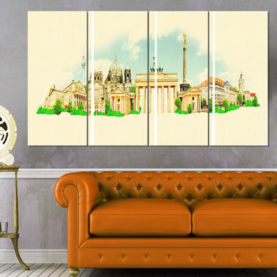 Designart Berlin Panoramic View Cityscape Watercolor CanvasPrint - 4 Panels