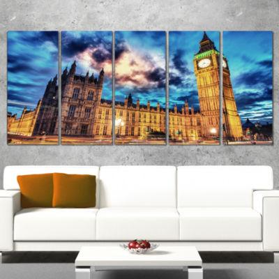 Designart Big Ben Uk and House of Parliament Cityscape PhotoCanvas Print - 5 Panels
