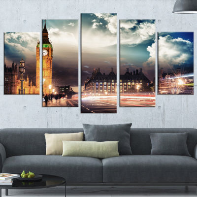 Designart Big Ben Uk From Westminster Bridge Cityscape PhotoCanvas Print - 5 Panels