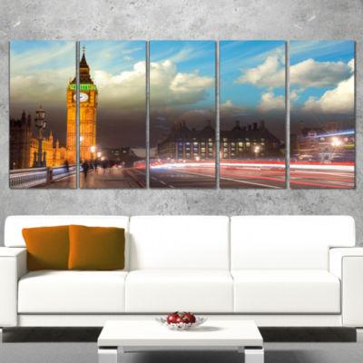 Designart Big Ben Uk From Westminster Bridge LargeCityscapePhoto Canvas Print - 4 Panels